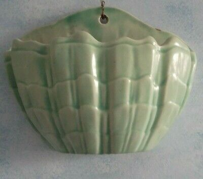 Brannam Barstable Green Pottery Wall Pocket Large As A Basket • 59£