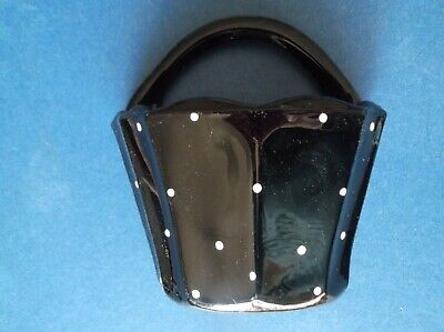Wallpocket Small Glass Black With White Spots Excellent Conditon • 20£