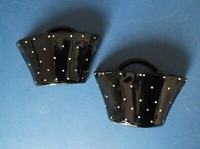 Pair Of Black Glass Basket Shaped Wall Pockets White Spots Good Condition • 26£