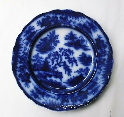 Antique Blue & White Flow Blue Dinner Plate - J Meir & Son. Kirkee Pattern • 25£