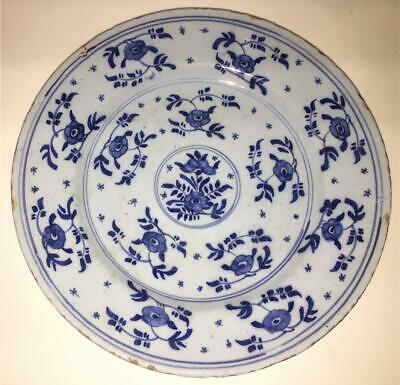 18th C English( London Or Bristol) Delft Plate Painted With Trailing Flowers • 79.99£