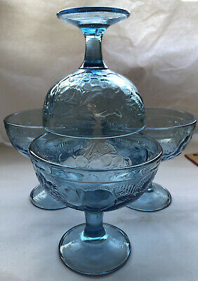 Vintage Blue Glass Bowls France • 6.25£