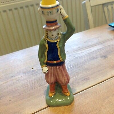 French Hand Painted Figurine Candlestick, H B Henriot Quimper • 105£