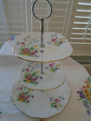 Vintage Bell China & Queen Anne Old Country Sprays  3 Tiered Teaset Cakestand  • 14.99£