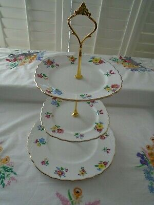 Vintage Royal Vale Floral Teaset 3 Tiered Cakestand Perfect For A Teapot/wedding • 9.99£