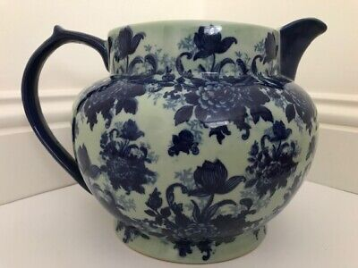 Huge Victoria Ware Ironstone Pretty Pitcher Jug Flow Blue Floral Glazed Pottery • 24.99£