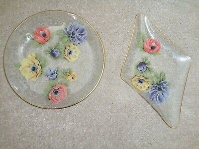 Vintage Retro Chance Clear Glass Anemone Floral Serving Plates   • 11£