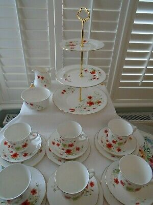 Vintage Royal Vale Poppies  21 Piece Teaset/cake Stand Perfect For A Teapot • 44.99£