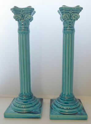Pair Antique Turquoise Burmantoft Leeds Ware Candle Stick C1900 Majolica Style • 245£