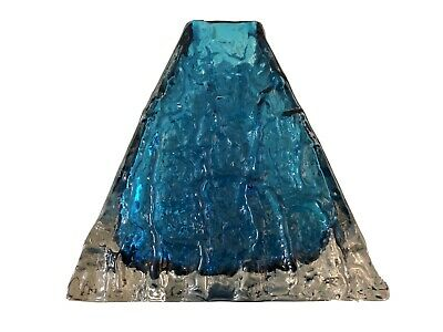WHITEFRIARS GLASS PYRAMID VASE IN KINGFISHER BLUE C.1960's CHARLES BAXTER • 199£
