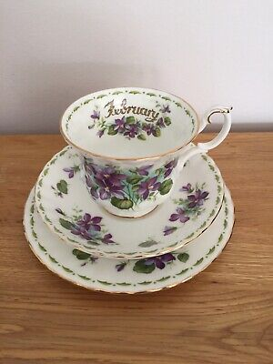 Royal Albert Flower Of The Month Series February Violets Trio (read Description) • 15£