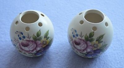 A Pair Of Axe Vale Devon Pottery Pomander Vases • 4£