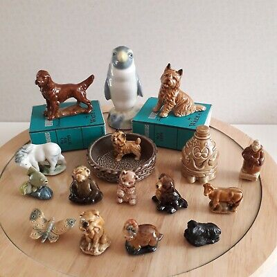 16 Wade Porcelain Ornements Dogs 2 With Boxes, Dog Dish,  Penguin,  Lamb  • 20£