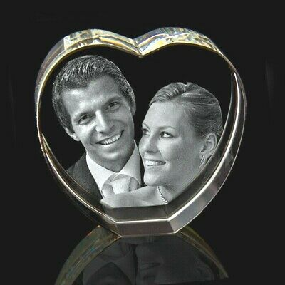 3D Personalised Heart Laser Etched Photo Crystal Engraving • 49£