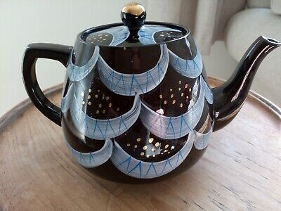 Vintage Art Deco Black And Gold Hand Painted Teapot In Very Good Condition • 14.50£