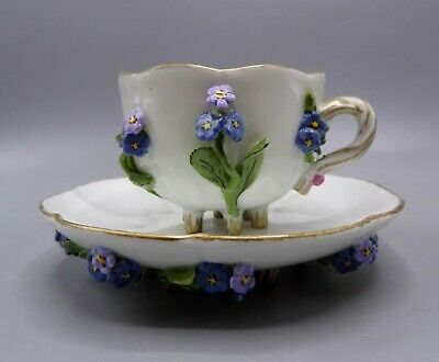 Meissen Flower Encrusted Cup & Saucer • 50£