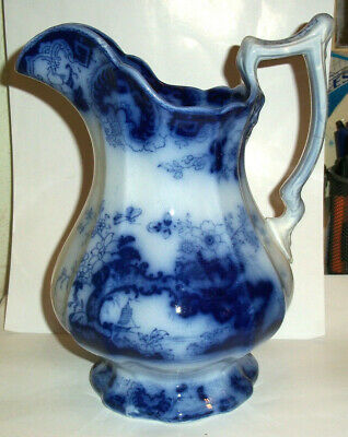Very Fine Antique Fancy Flow Blue Large Jug C1850 • 34.99£