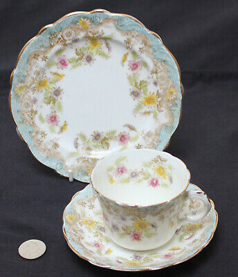 Antique Queens China G W & Sons : 1 X Trio (Cup Saucer Side / Bread Plate) (f) • 10.99£