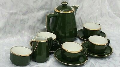 11  Apilco Green & Gold Small Coffee/ Tea Cups + Saucers Teapot  French  (new ) • 11.50£
