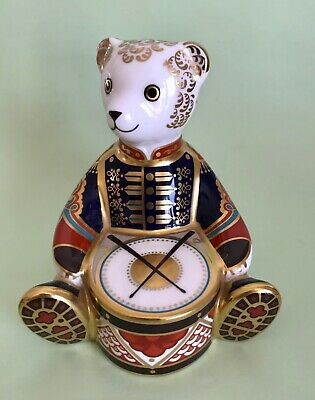 Royal Crown Derby Paperweight Drummer Bear Gold Stopper MMI • 59£