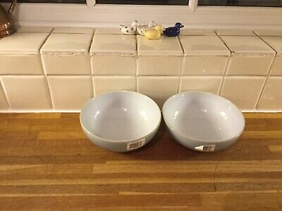 Denby Everyday Cool Blue Cereal Bowls X2 - Brand New 2nds • 24.99£