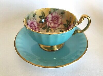 Rare Aynsley 1031 J A Bailey 4 Cabbage Roses Footed Cup And Saucer • 149£
