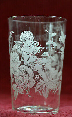 Fine Late Victorian Etched Glass With Cherub Amid Flowers Engraved With Name • 12.50£