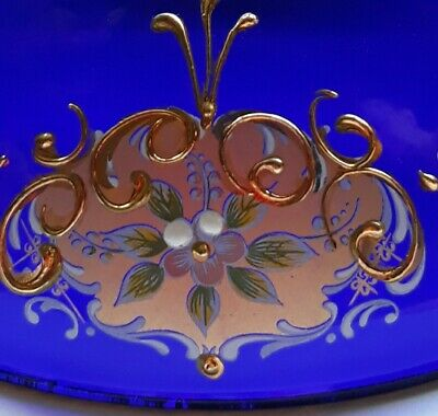 Gorgeous Bristol Blue Glass Bowl With Heavy Gold Overlay Design • 9.99£