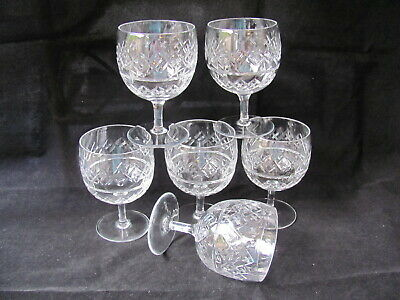 SIX THOMAS WEBB CRYSTAL 5⅛  Wine/Water Goblet Glasses - SIGNED • 35£