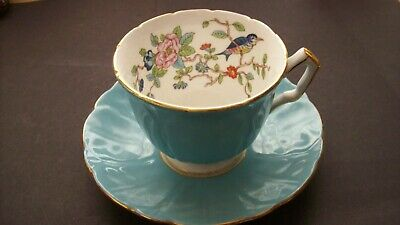 Aynsley Blue Pembroke Cup And Saucer , English Fine Bone China . • 15£