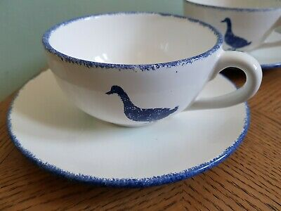 Hinchcliffe & Barber Saville Pottery Large Breakfast Cup & Saucer Duck Pattern • 19.99£