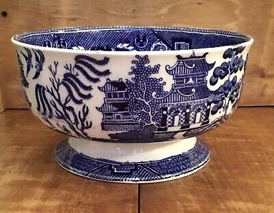 Vintage C19th JOHN TAMS LTD Willow Pattern Fruit Bowl In Immaculate Condition • 19.99£