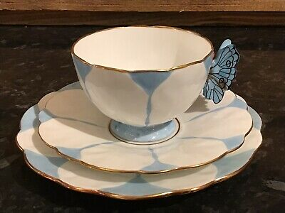 Rare Aynsley Butterfly Handle Trio Tea Cup Saucer & Plate Blue (1) • 45£