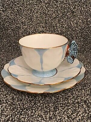Rare Deco Aynsley Butterfly Handle Trio Tea Cup Saucer & Plate Blue (5) • 55£