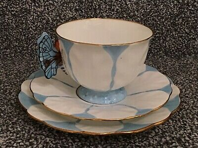 Rare Deco Aynsley Butterfly Handle Trio Tea Cup Saucer & Plate Blue (6) • 55£