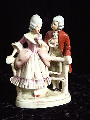 Vintage German Porcelain 'Courting Couple' Figurine Fairing Flat Back 5.5  High • 2£