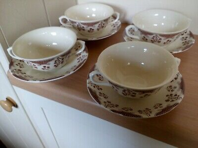 4 X Masons Cambric Pattern Soup Coupes & Saucers In Very Good Condition • 14.50£