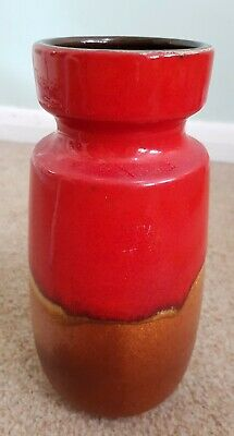 Vintage Mid Century Scheurich 242-22 W.Germany Pottery Fat Lava Vase 9 Height  • 12.99£