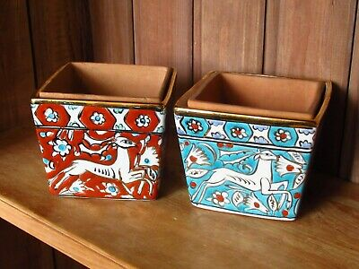 2 Sweet Vintage Rhodes Pottery Greece Hand Painted Small Plant Pots Planters • 25£