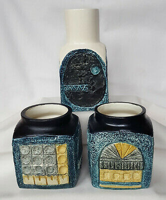 Troika Collection Of 3, Chimney Vase/spice Jar, Marmalade Jars, Penny Broadribb • 350£