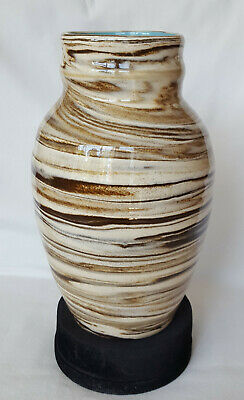 Vintage Studio Pottery High Glaze Cream & Brown 8  Vase In Perfect Condition • 25.99£