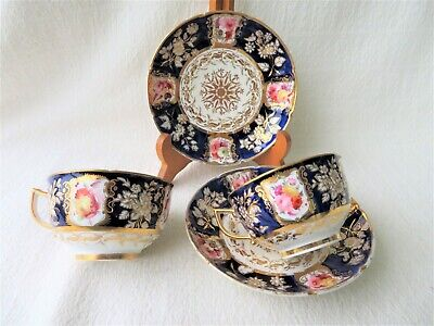 Quality Antique 19thc Coalport Hand Painted 2 Cups & Saucers New Embossed Patt • 85£