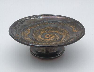 Hand Built Footed Pottery Dish With Glazed Spiral Design • 26£