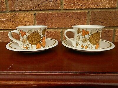 2 Vintage Midwinter Countryside Cups & Saucers • 11.99£