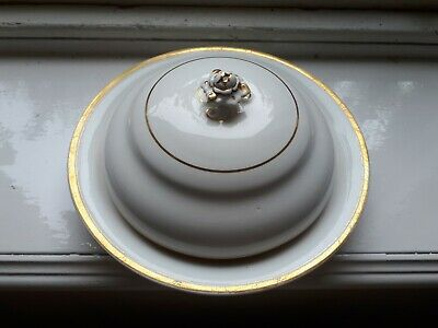Antique Victorian Porcelain Butter Or Muffin Dish Tureen Gold And White • 4.99£
