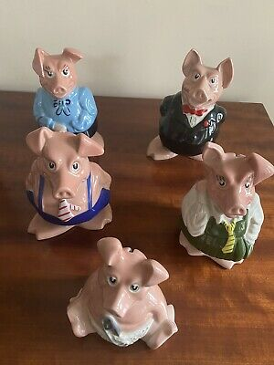 Natwest Pigs Full Set With Original Stoppers • 30£