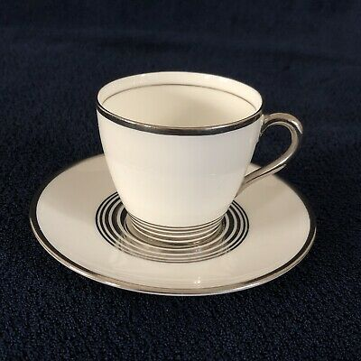 Vintage 1930s Royal Doulton Art Deco Coffee Can Cup Demitasse H4137 Silver • 12£