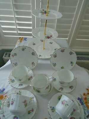 Vintage Polka Dot Part Teaset With A Mixed  3 Tier Cakestand For A Tea Pot • 34.99£