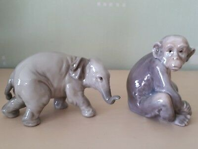 Lladro Fauna Collection Monkey And Elephant • 95£