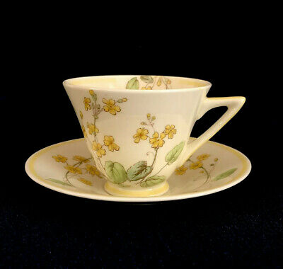 1930s Vintage Art Deco Royal Doulton Cup & Saucer In Yellow Primula V1431 • 20£